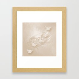 Fabulous butterflies and wattle with textured chevron pattern in subtle iced coffee Framed Art Print