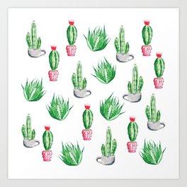 Pot plants with Cacti Pattern // Modern watercolor plants design Art Print