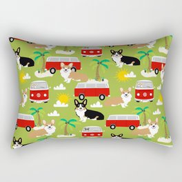 corgi welsh corgis hippie bus tropical beach surf life road trip corgi lover Rectangular Pillow