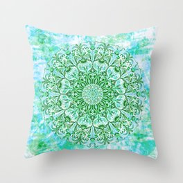 Ocean Aqua Blue Watercolor Mandala , Relaxation & Meditation Turquoise Flower Circle Pattern Throw Pillow