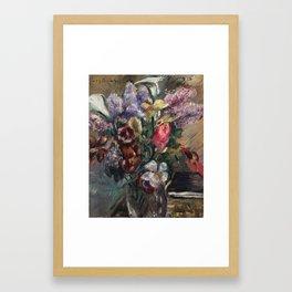 Lovis Corinth 1858 Tapiau, Ostpreußen – 1925 Zandvoort Holland Still Life with lilac, calla and tuli Framed Art Print