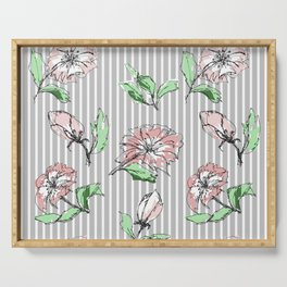 hand drawn flowers, striped Serving Tray