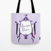 asexual Tote Bags featuring Asexual Pirate by armouredescort