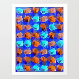 geometric polygon abstract pattern in blue and brown Art Print