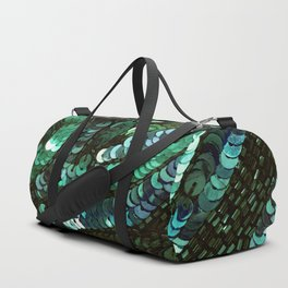 Forest Green Teal Sequin Design Duffle Bag