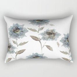 watercolor Dahlia blue Rectangular Pillow