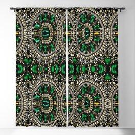teal silver emerald green rhinestone crystal bohemian pattern Blackout Curtain