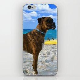 BOXER DOG SURFER BEACH BUM AND FRIEND iPhone Skin