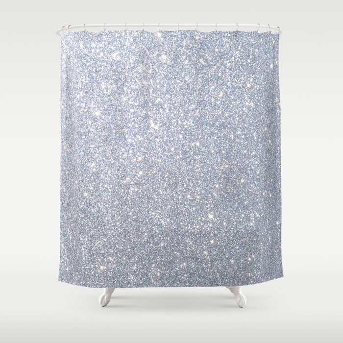 Silver Metallic Sparkly Glitter Shower Curtain