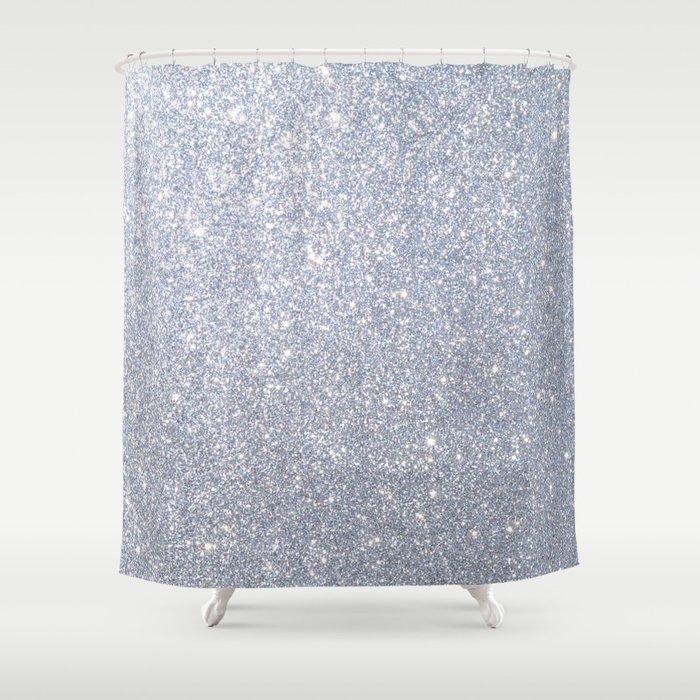 Silver Metallic Sparkly Glitter Shower Curtain
