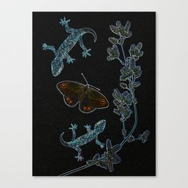 Butterfly With Geckos Canvas Print