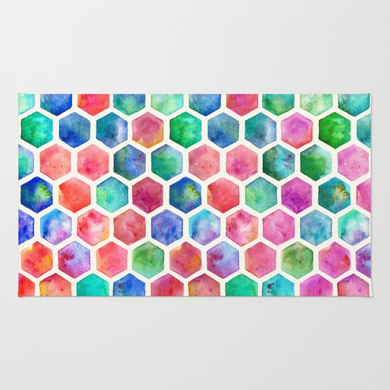 Hand Painted Watercolor Honeycomb Pattern Rug