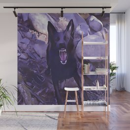Angry Black Wolf Wall Mural