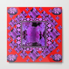 RED PURPLE AMETHYST FEBRUARY GEM BIRTHSTONE MODERN ART Metal Print