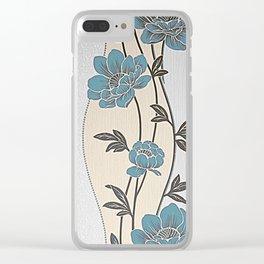 Greenish Blue Flower Garland Clear iPhone Case