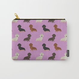 Doxie dachshund dachsie pattern print dog lover dog breed custom dog art by pet friendly Carry-All Pouch
