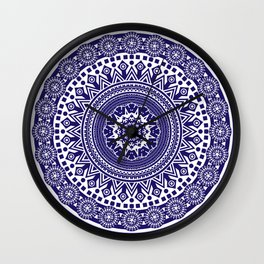 Mandala 006 Midnight Blue on White Background Wall Clock