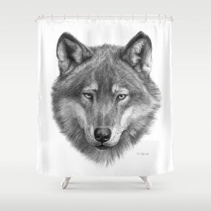 Wolf face G084 Shower Curtain