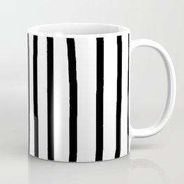 Simply Drawn Vertical Stripes in Midnight Black Coffee Mug
