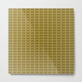 Golden Olive Leaves Metal Print