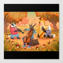 Musician animals in the wood Canvas Print