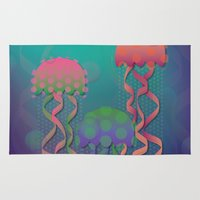polka dot Area & Throw Rugs featuring Polka Dot Jellyfish by Graphic Tabby