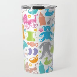 seamless pattern with baby icons Travel Mug
