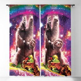 Space Cat Llama Sloth Riding Taco Blackout Curtain