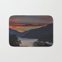 Sunset over Queenstown and Lake Wakatipu Bath Mat