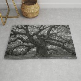 1,500 Year Old Angel Oak Tree of Charleston, South Carolina black and white photography / photograph Rug