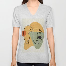 Abstract Faces 19 Unisex V-Neck