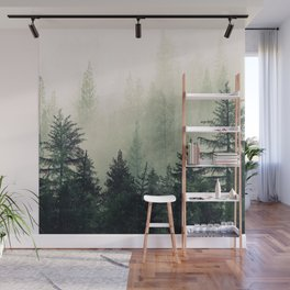 Foggy Pine Trees Wall Mural