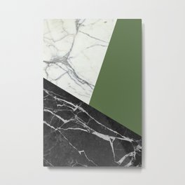 Black and white marble with pantone kale Metal Print