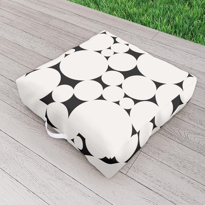 Circular Collage - Black & White II Outdoor Floor Cushion