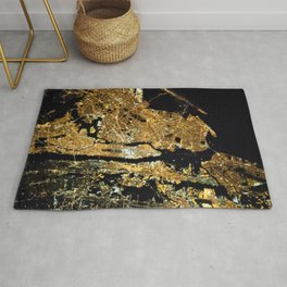 Space Station View of New York City at Night Photograph Rug