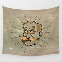 moustache Wall Tapestries featuring hypnotic moustache man by AmDuf