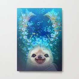 SLOTH HORNS UP Metal Print