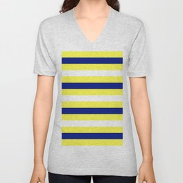 Nautical Stripe in Yellow, White and Navy Unisex V-Neck