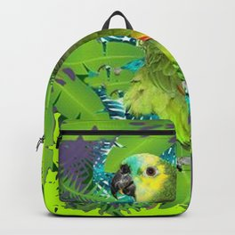DECORATIVE GREEN PARROT JUNGLE GRAY-GREEN ART Backpack