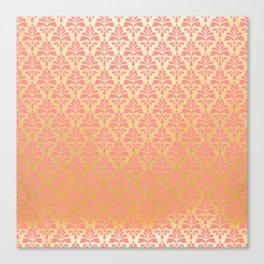 Modern vintage pink faux gold floral damask Canvas Print