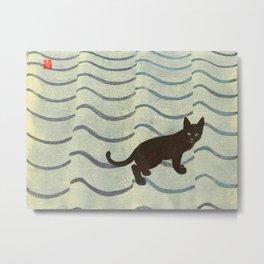 Aoyama Masaharu Japanese Woodblock Print Black Cat On Water Vintage traditional Art Metal Print