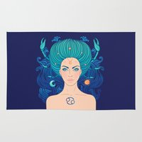 zodiac Area & Throw Rugs featuring Zodiac Cancer by Varvara Gorbash