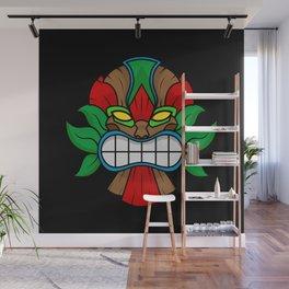 Tiki Mask - Black Background Wall Mural