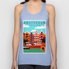 Vintage Amsterdam Holland Travel Unisex Tank Top