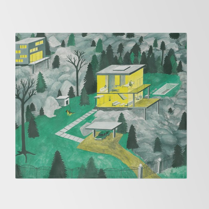 Night Houses Throw Blanket