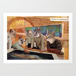 Cats Discuss a Project Art Print