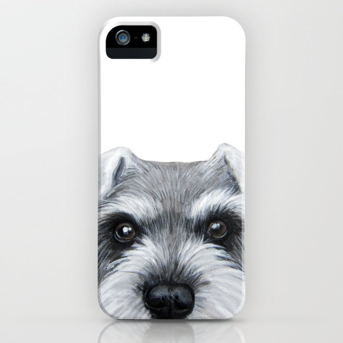schnauzer grey&white, dog illustration original painting print iphone case