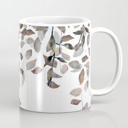 Leaf Cascade Linen Texture Neutral Coffee Mug