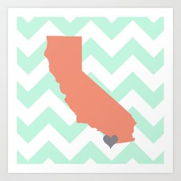 San Diego California in Coral on Mint Chevron Art Print