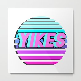 "Vaporwave pattern with palms and words ""yikes"" #2 Metal Print"